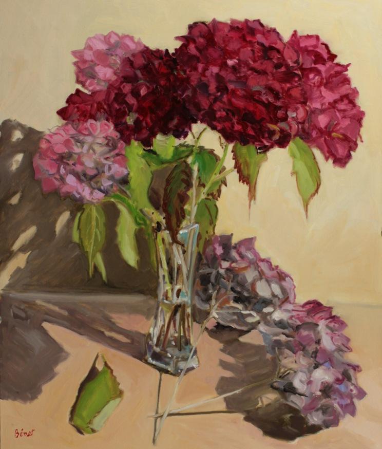 Hortensias, nature morte, peinture à l'huile P Benet