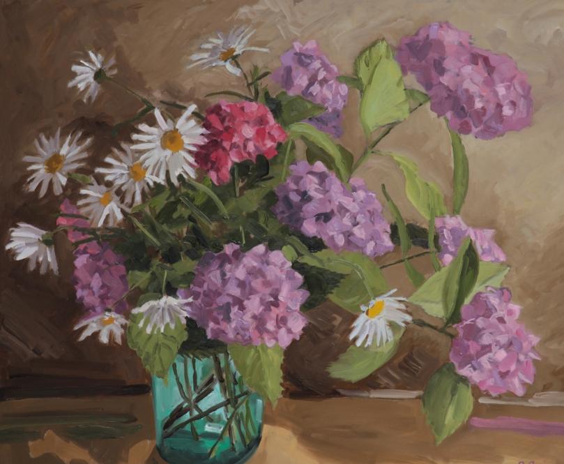 Hortensias et marguerites TsP 25F (81 x 65 cm) 2013