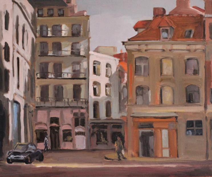 Lille, rue de la Barre - peinture à l'huile 8F (55 x 46 cm) 2015