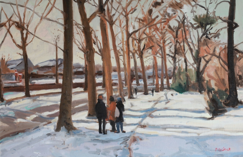 Neige, promenade à Lille    TsP 25M (81 x 54 cm) 2014