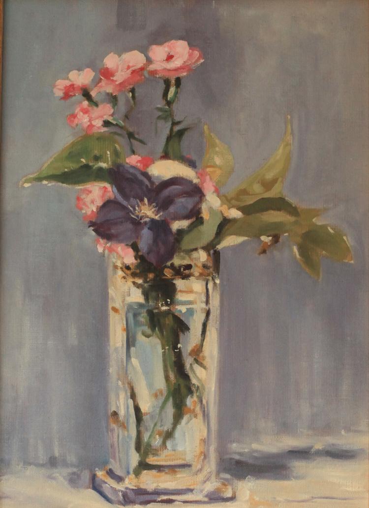 Œillets et clématites dans un vase de cristal, Manet copie P.Benet