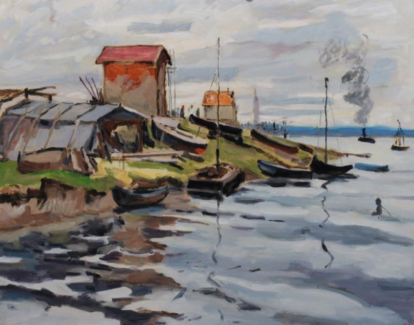 Monet La Seine au petit Gennevilliers copie 12F (61 x 50 cm)
