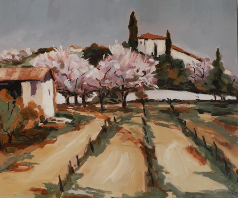 Région de Carpentras, Vignes et cerisiers de l'artiste, copie de Paul Surtel TsP 10F (55 x 46 cm) 2013