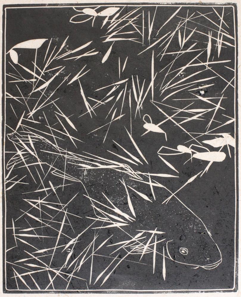 Carpe sous l'herbe, linogravure (26 x 21 cm) 2014 encadré