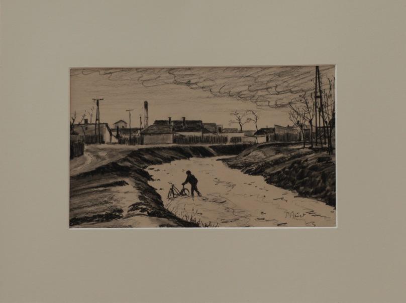 La traversée, dessin pierre noire ( 19 x 31 cm) 2014 encadré( 36 x 48 cm)