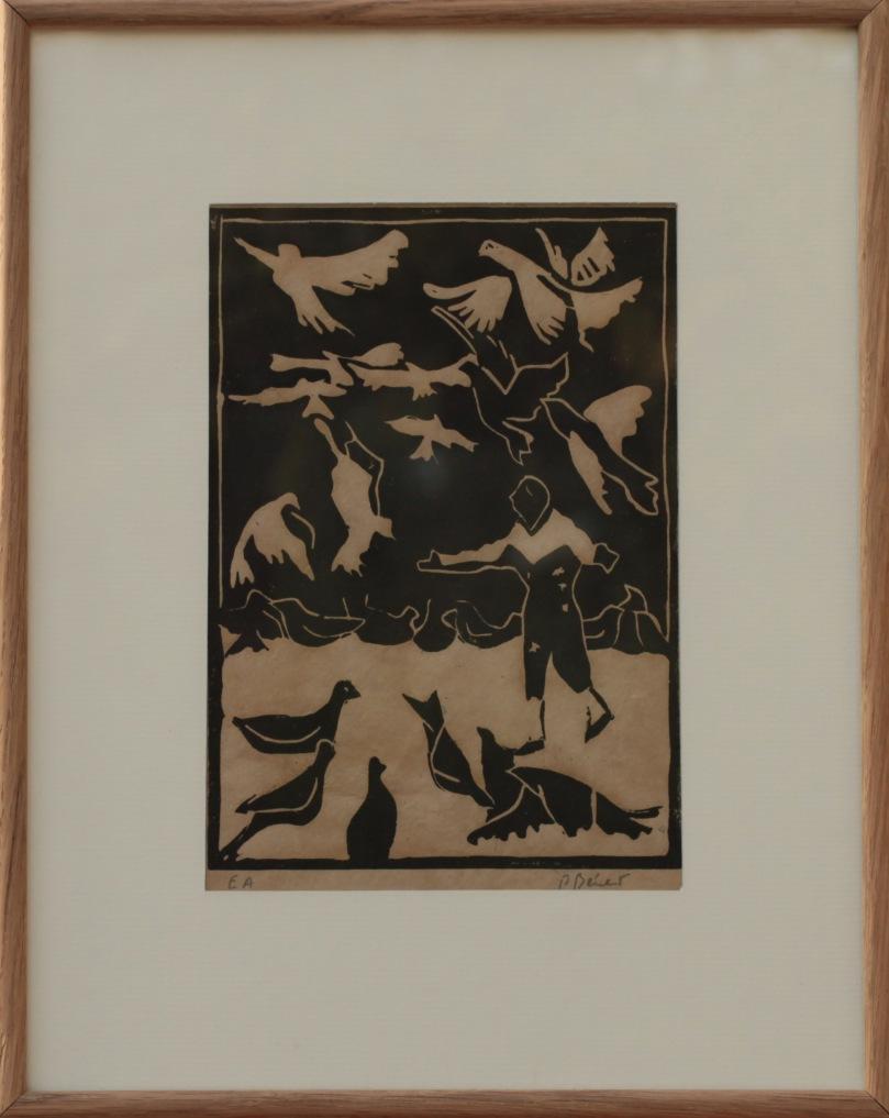 Les oiseaux linogravure (21 x 15 cm) 2013 encadré(29 x 36 cm)