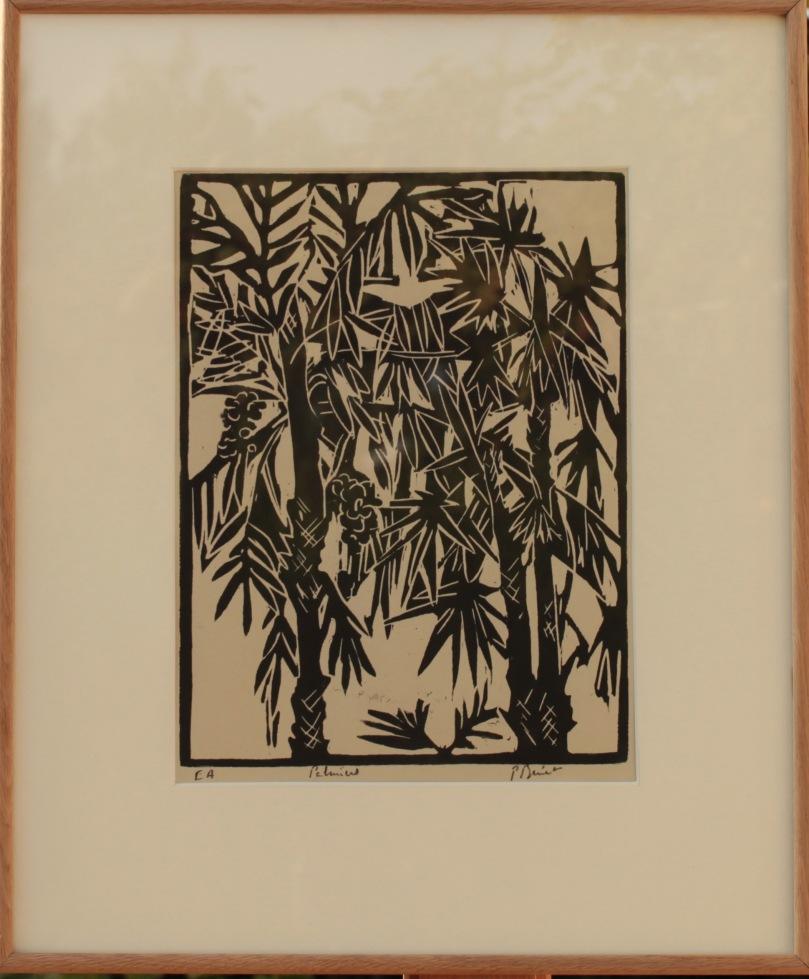 Les palmiers, bois (32 x 23 cm) 2013 encadré( 50 x 42 cm)