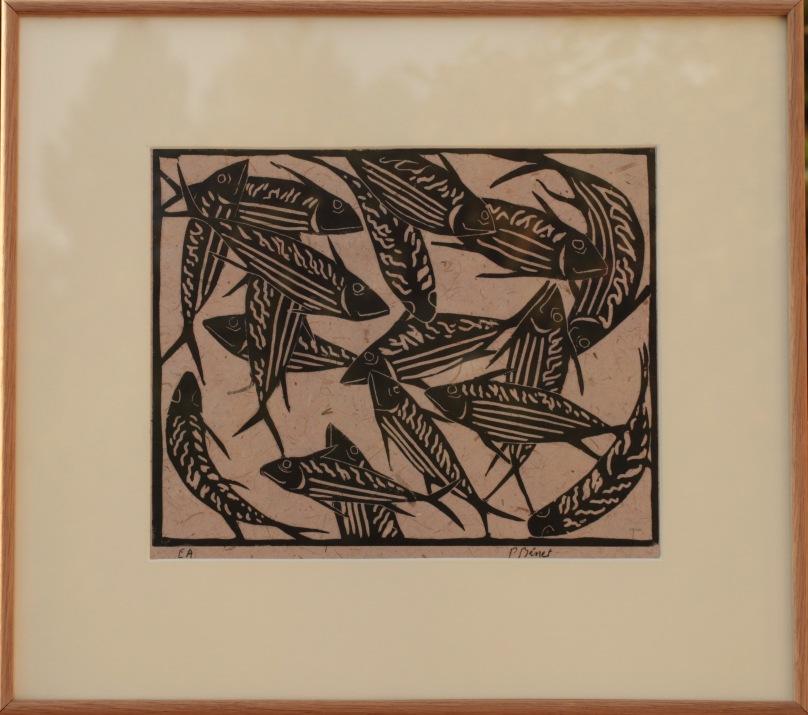 Les poissons linogravure (31 x 24 cm) 2013 encadré( 45 x 49 cm)
