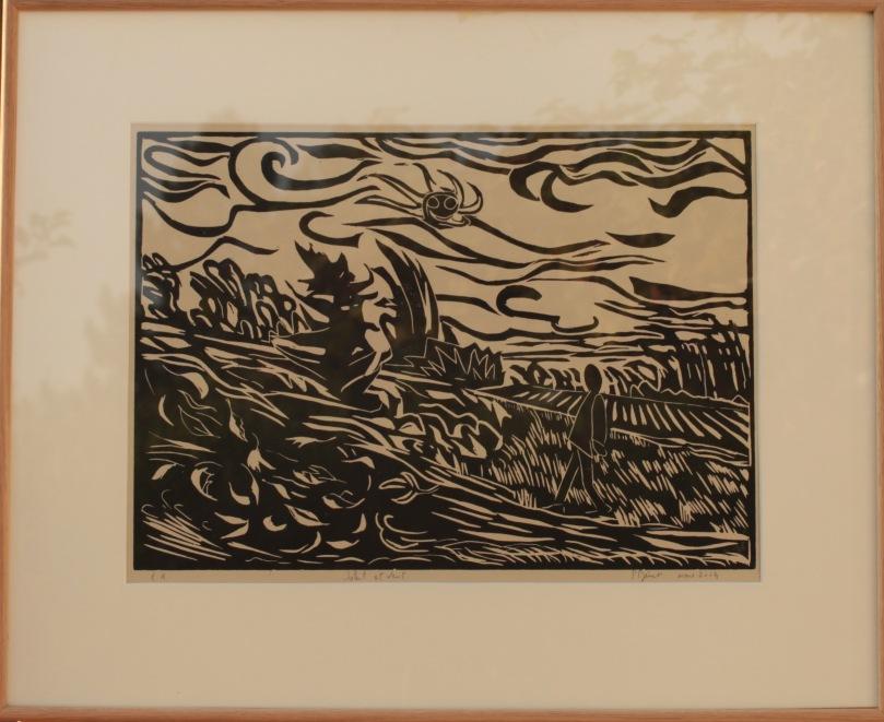 Soleil et vent, bois (42 x 31 cm) 2014 encadré( 61 x 51 cm)