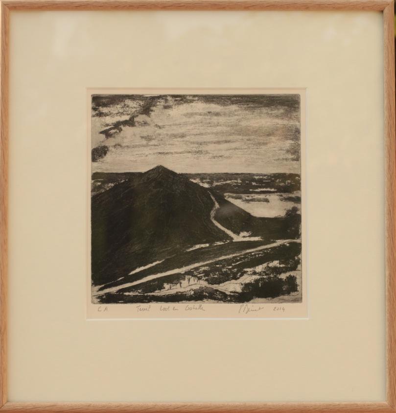 Terril de Loos en Gohelle, Carborundum(20 x 20 cm) 2014 encadré( 40 x 38 cm)