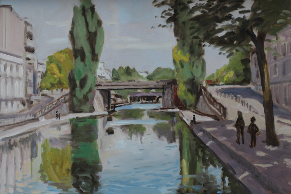 Canal saint martin, fin d'été, peinture à l'huile PBenet