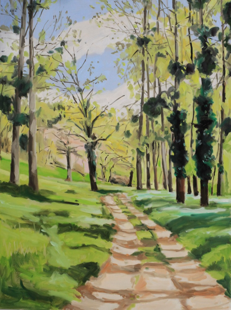 Chemin au printemps dans l'Indre- peinture à l'huile PBenet