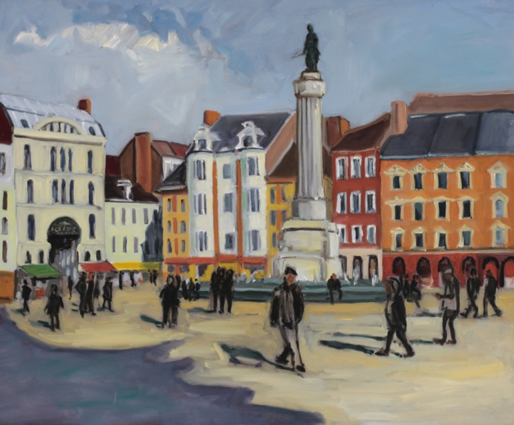 Grand place Lille colonne de la Déesse peinture à l'huile PBenet