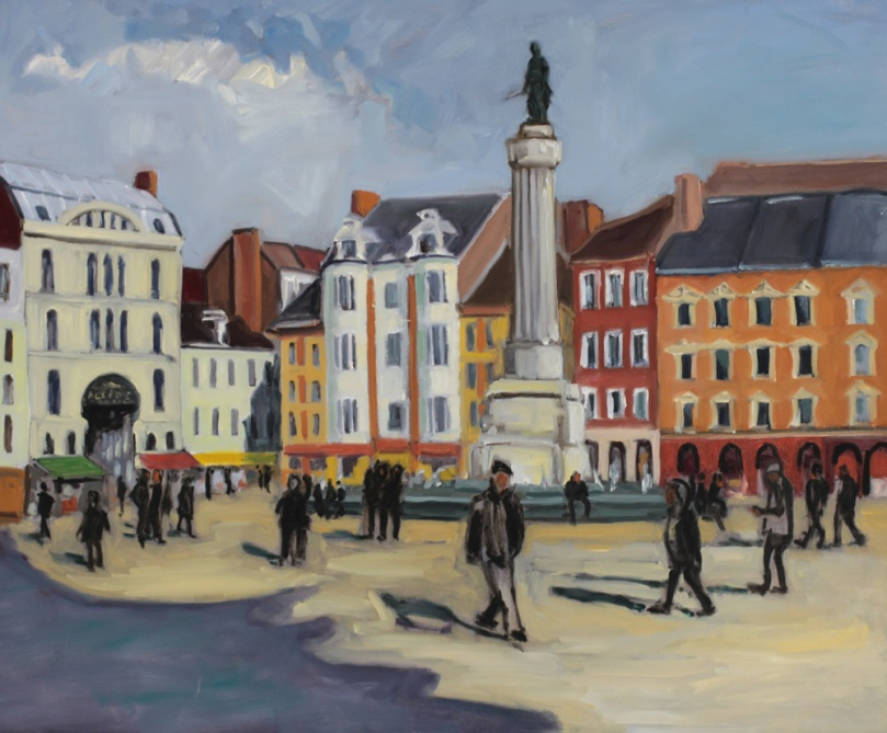 Grand place Lille colonne de la Déesse, peinture à l'huile PBenet