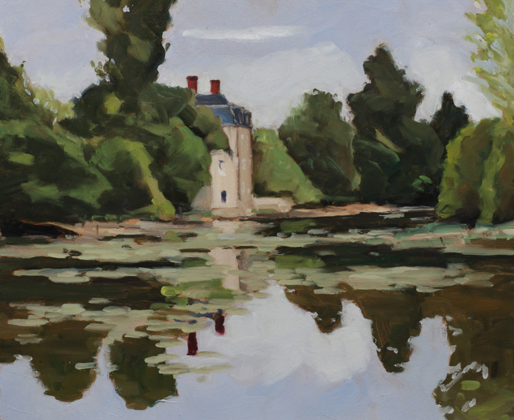 Château de Clavières Indre peinture à l'huile PBenet