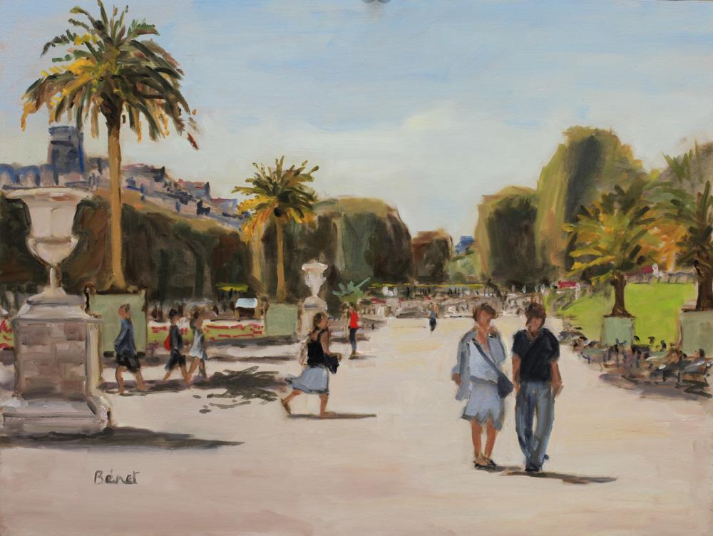 Jardin du Luxembourg, peinture à l'huile P.Bénet