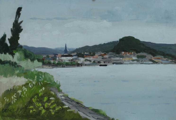 La Seine à Duclair peinture à l'huile P.Benet