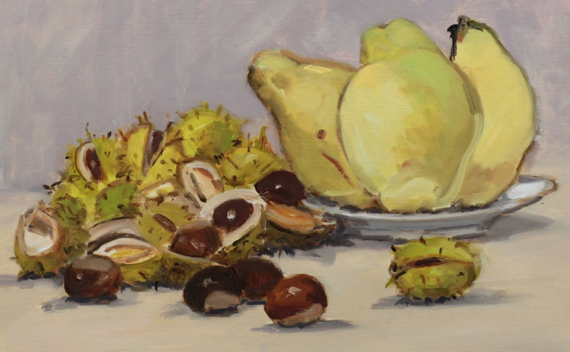Marrons d'Inde et coings oil painting PBenet