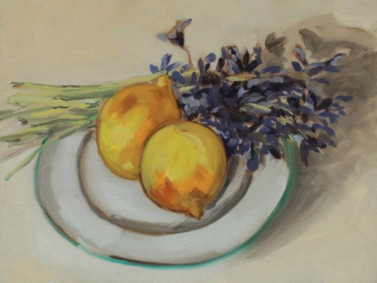 Nature morte avec citrons jacinthes peinture à l'huile PBenet