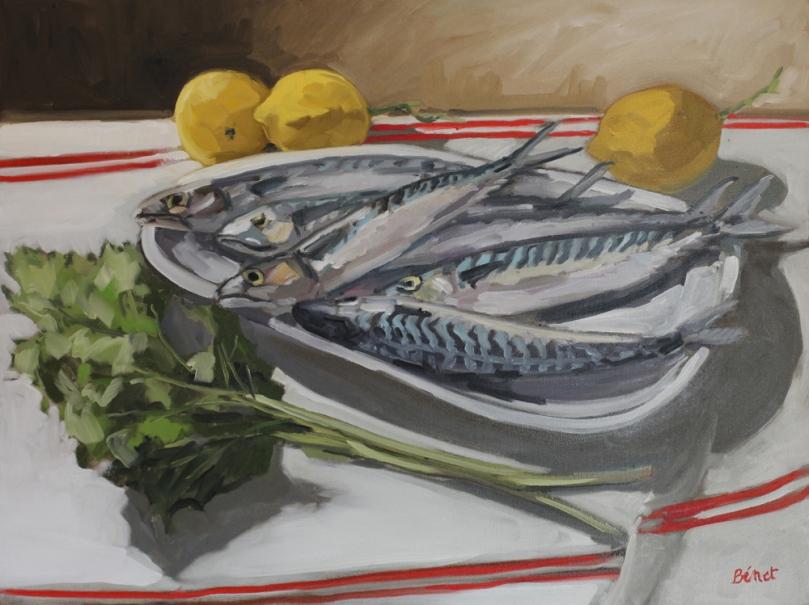 Nature morte maquereaux citrons peinture à l'huile PBenet