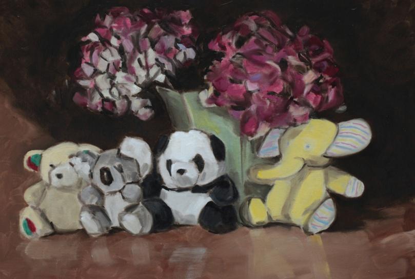 Nature morte peluches hortensias, peinture à l'huile PBenet