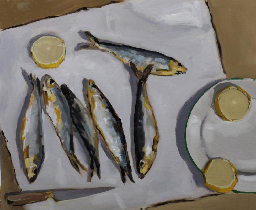 Nature morte sardines séchées - penture à l'huile PBenet