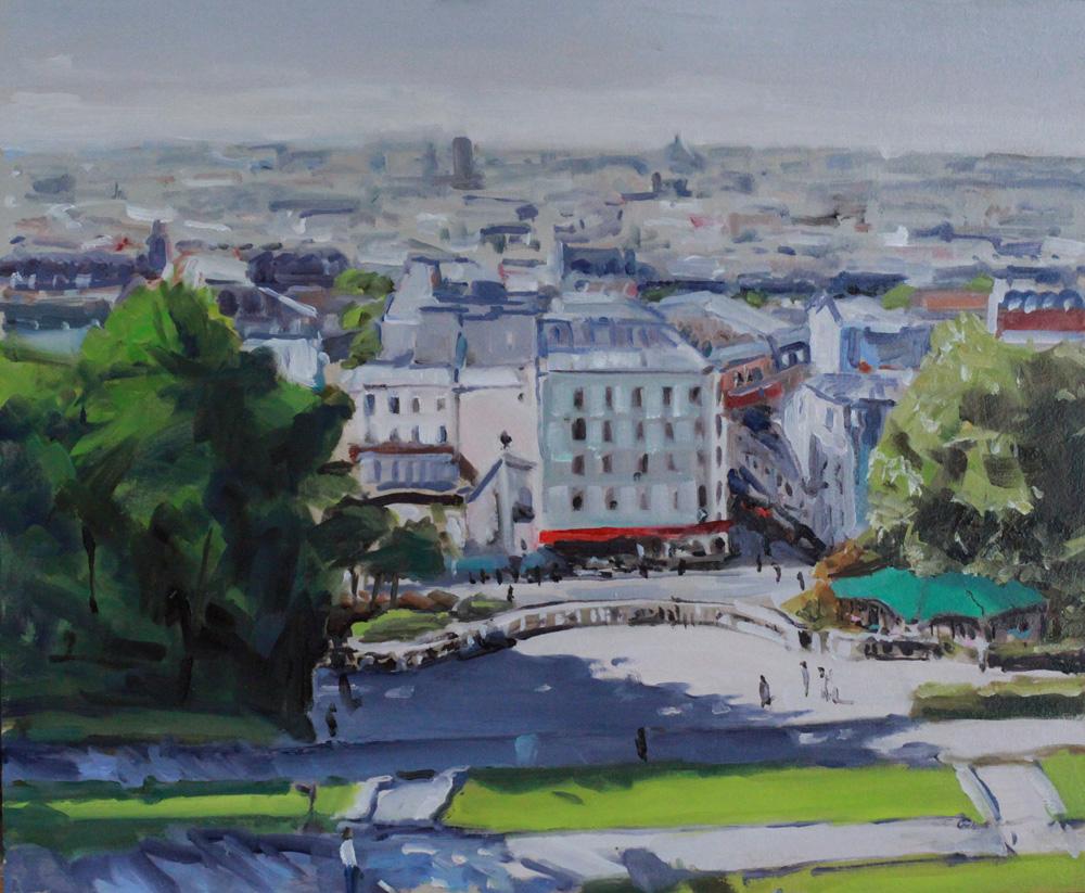 Paris depuis l'esplanade du Sacré-Cœur, oil painting PBenet
