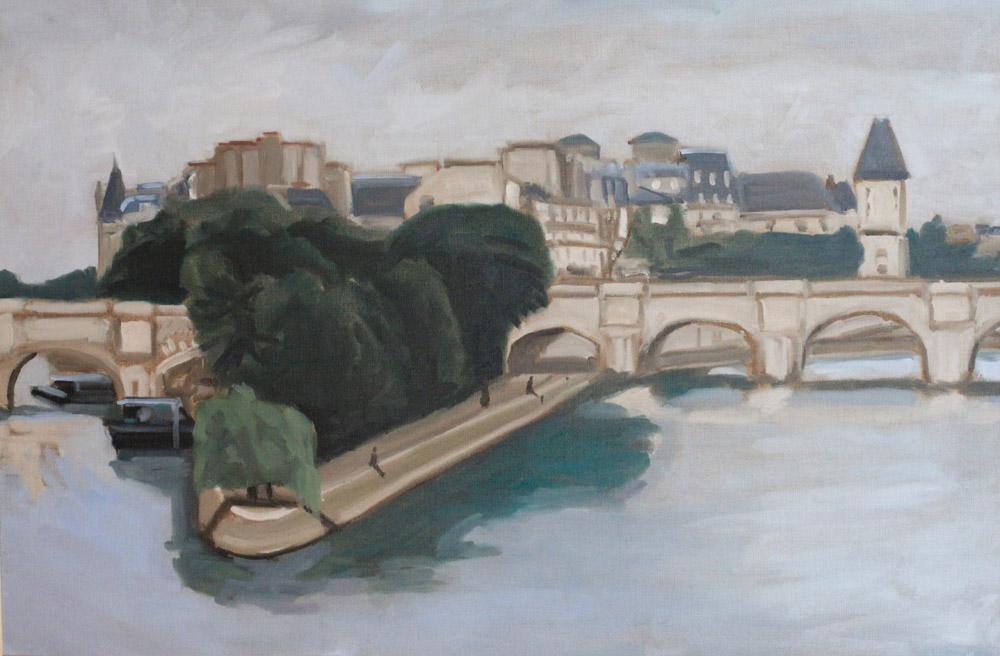 Paris, île de la Cité, peinture à l'huile PBenet