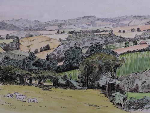 Paysage de la Vallée Noire encre et aquarelle PBenet