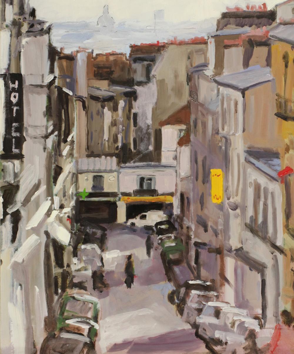 Rue Tholozé Montmartre Paris 18ième peinture à l'huile PBenet