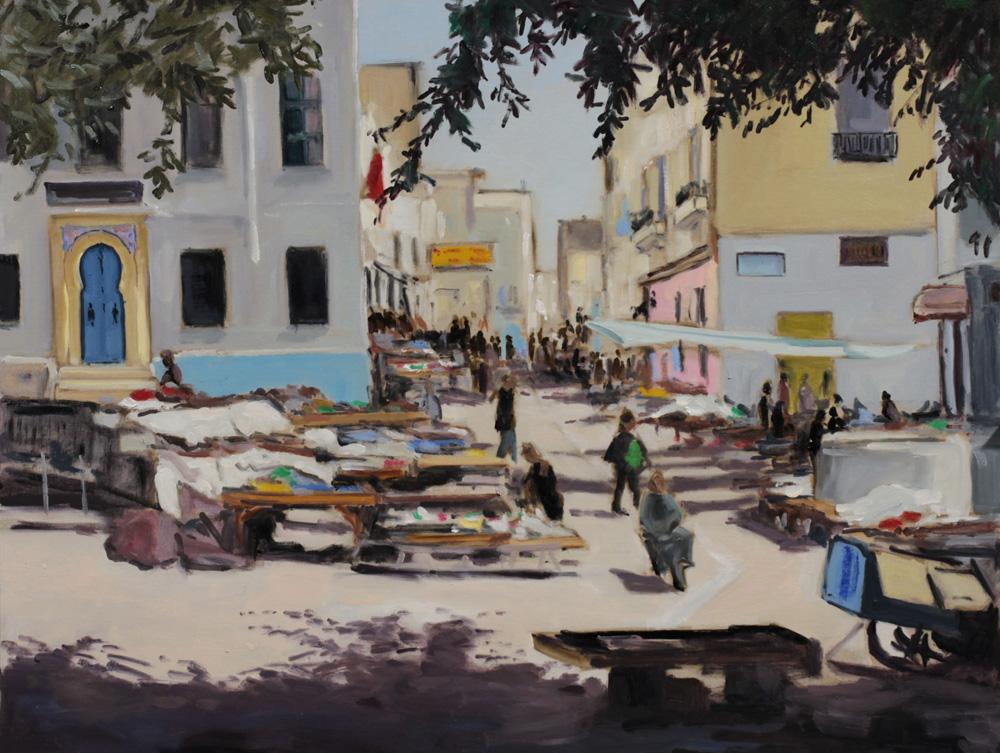 Souk de Sfax Tunisie - peinture à l'huile PBenet