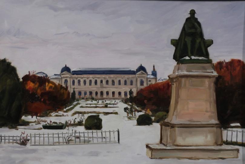 Statue de Lamarck jardin des plantes Paris - peinture à l'huile PBenet