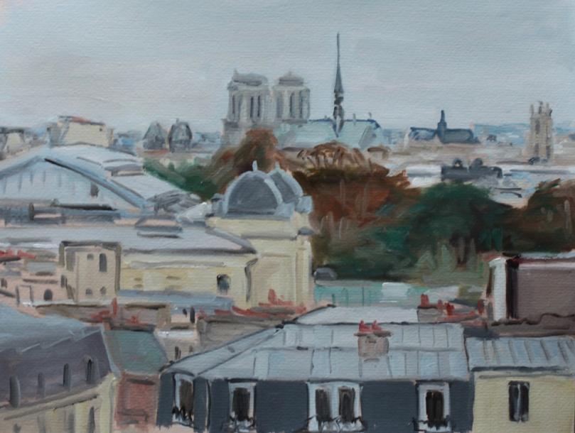 Toits de Paris, peinture à l'huile PBenet