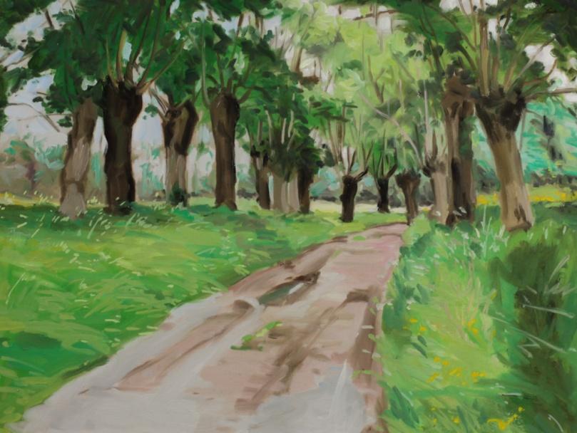 Chemin saules - oil painting PBenet
