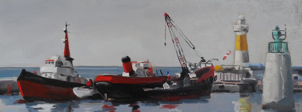 Embarcadère de Cannes, huile, 60 x 23 cm PBenet