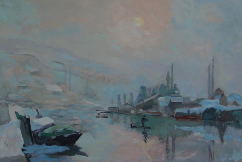 A Lebourg La Seine et ile Lacroix Rouen copie oil painting PBenet
