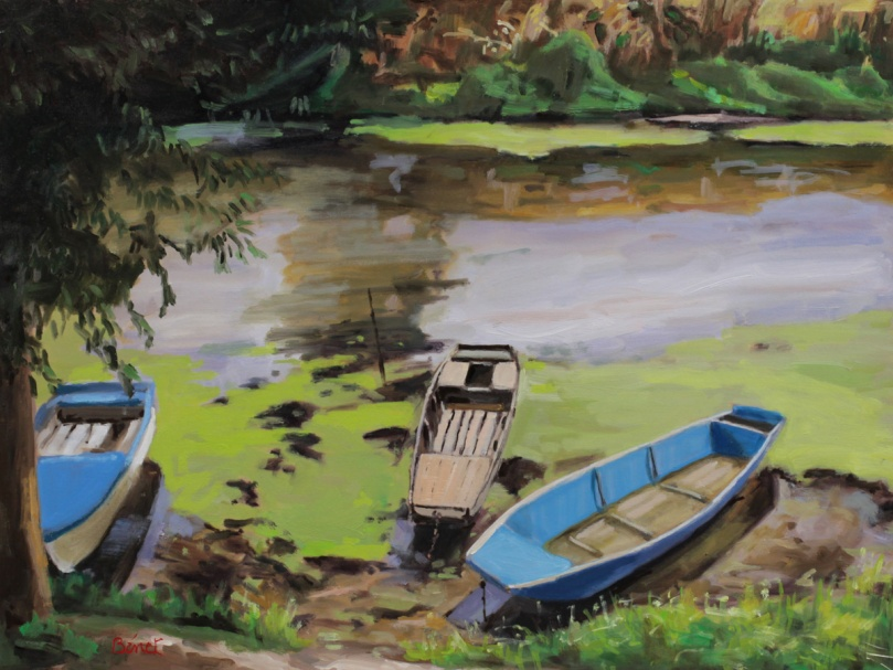 Bord de Sarthe oil painting PBenet