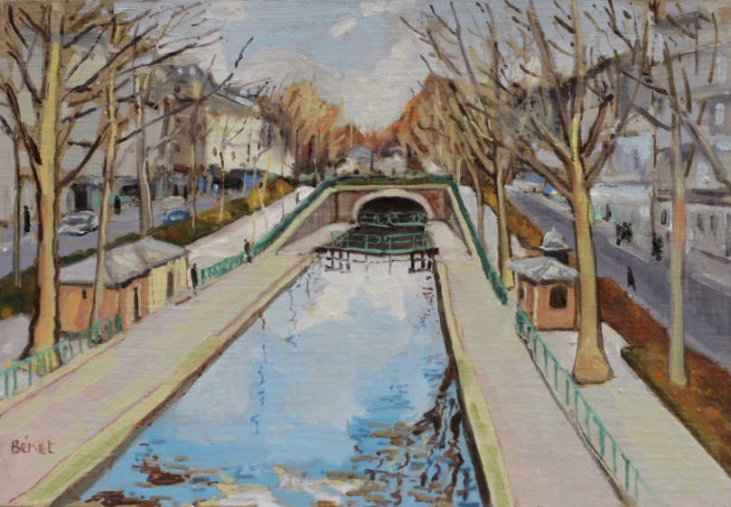 Canal St Martin hiver oil painting PBenet