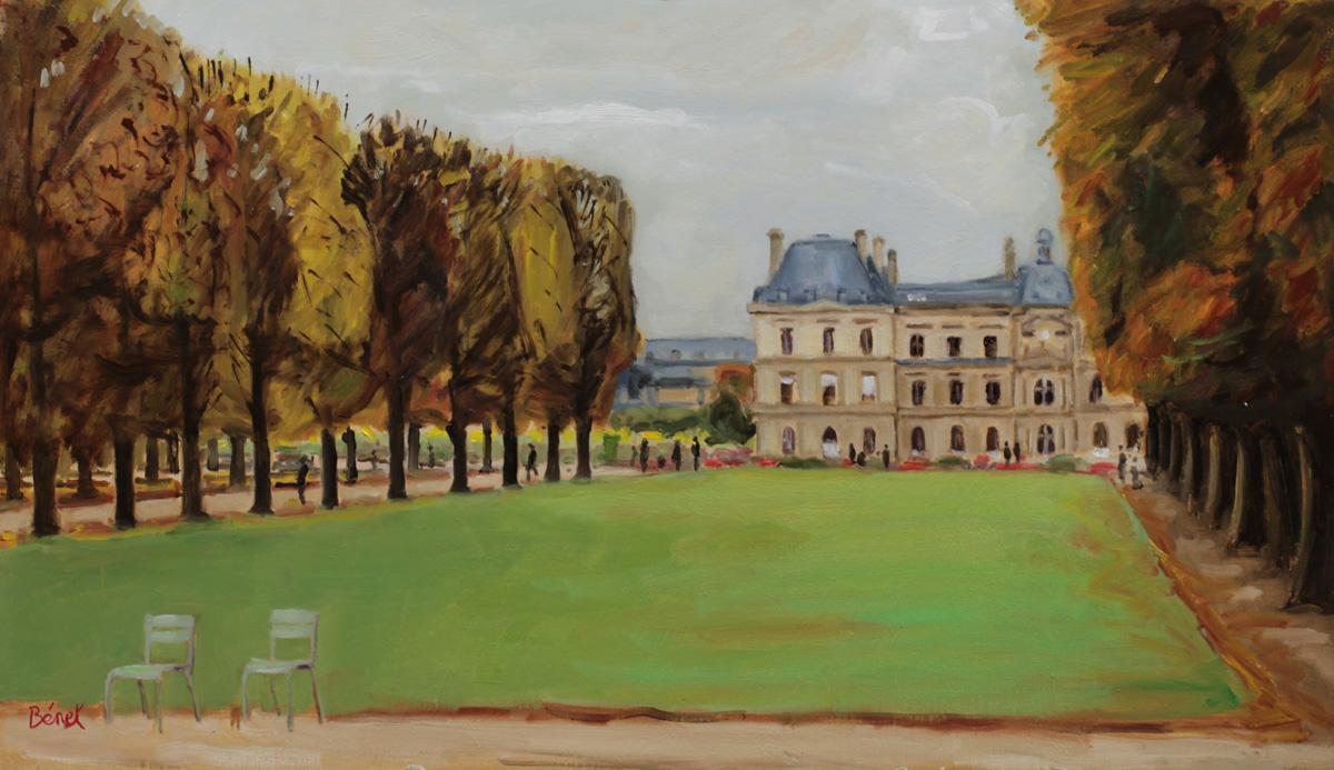 Le senat vu depuis le jardin du Luxembourg oil painting PBenet