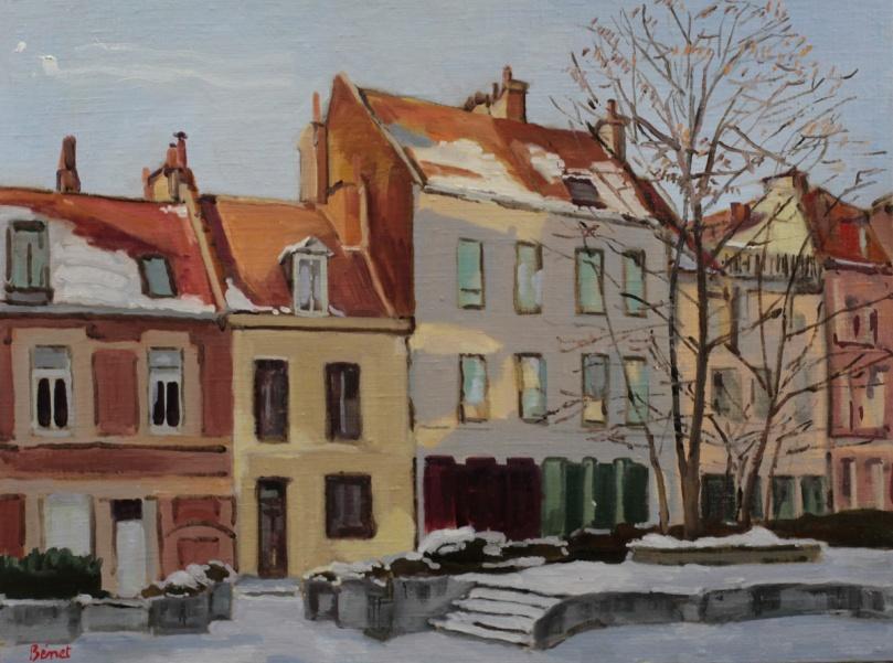 Place des archives sous la neige, Lille, oil painting PBenet