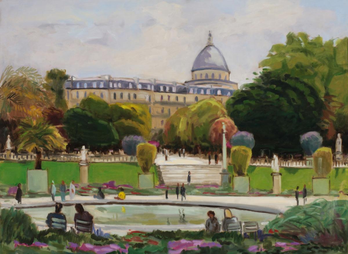Le Pantheon depuis le jardin du Luxembourg oil painting PBenet