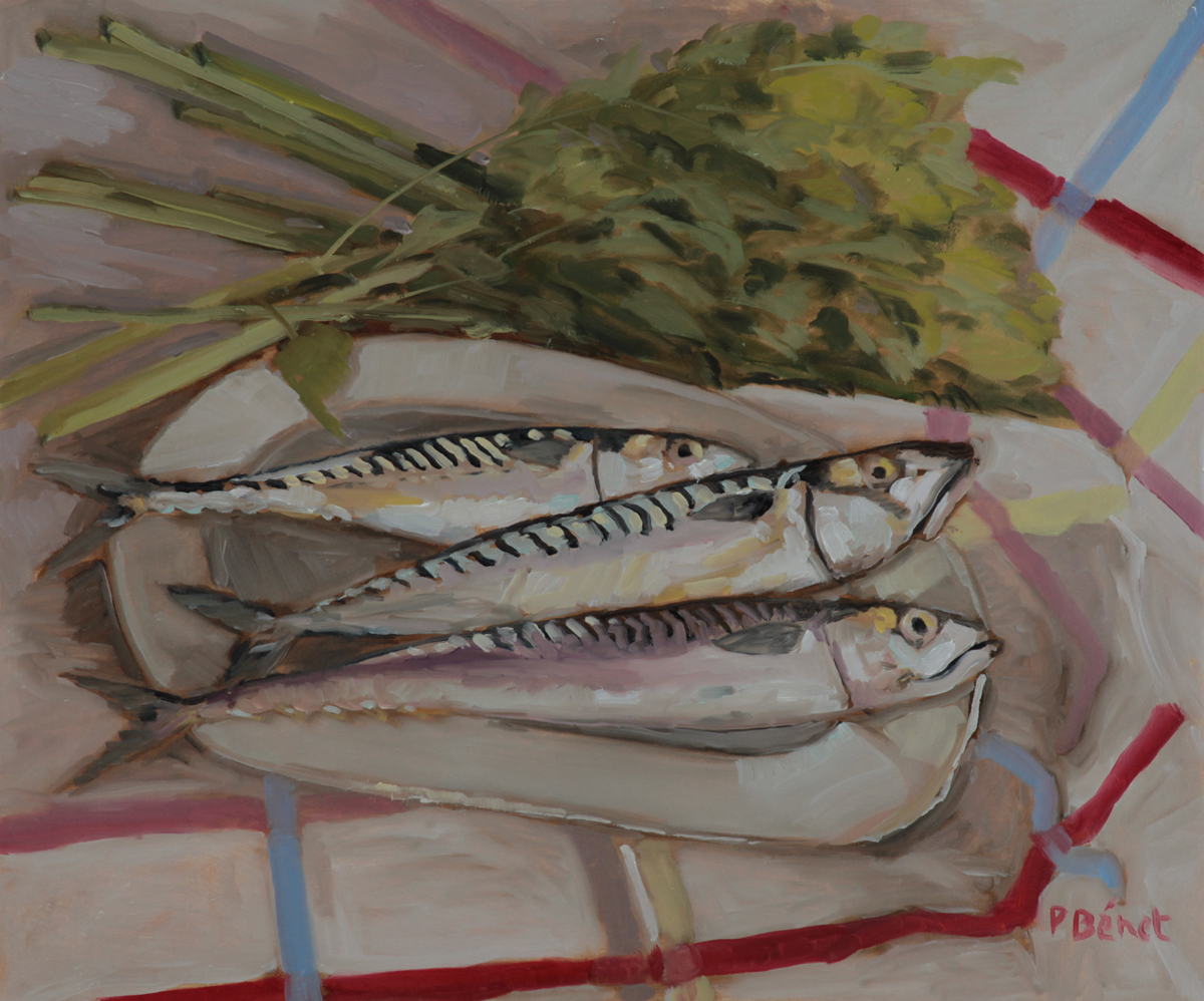 Maquereaux et celeri oil painting PBenet