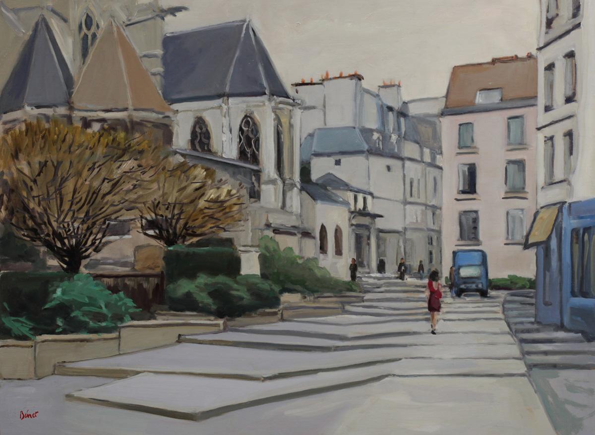 Rue des Barres eglise Saint Gervais oil painting PBenet