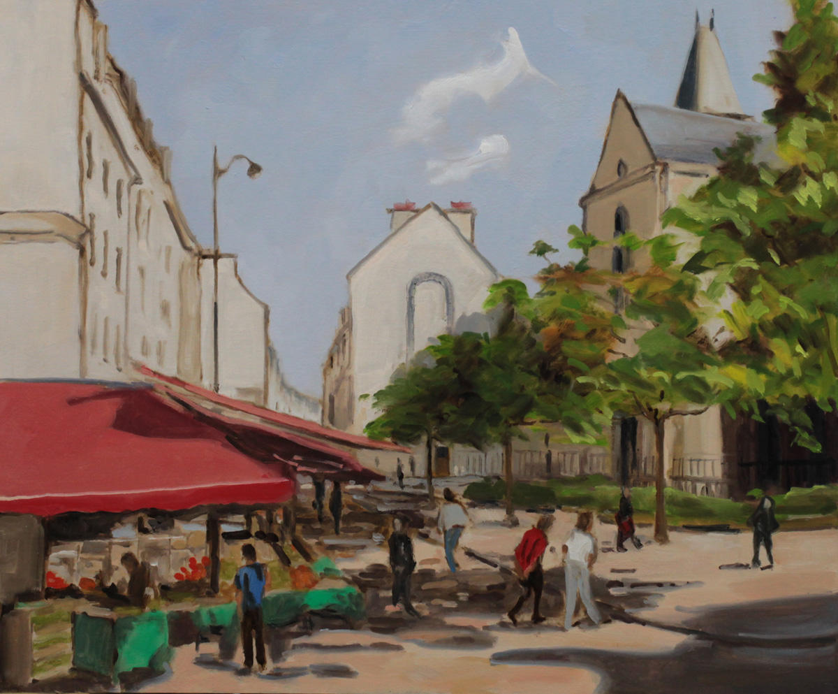 rue Mouffetard oil painting PBenet