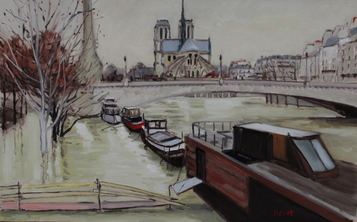 Crue de la Seine oil painting PBenet