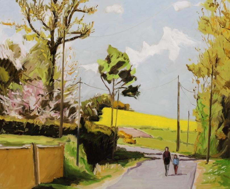 Paysage au printemps dans l'Indre oil painting PBenet