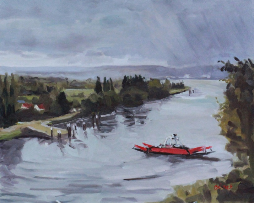 Duclair, arrivee de la pluie, oil painting, PBenet