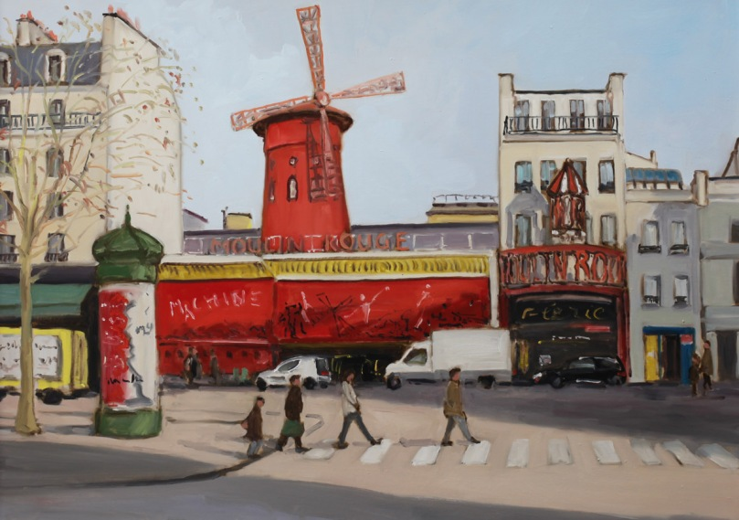Place Blanche et Moulin Rouge oil painting PBenet