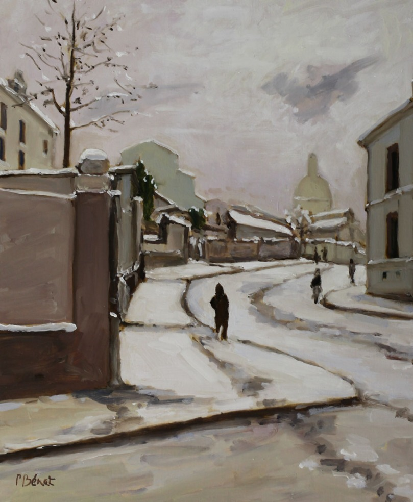 Neige sur Montmartre, rue Ravignan w